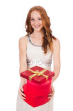 Woman with gift box Royalty Free Stock Photography