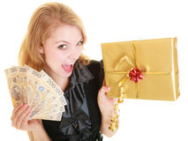Woman with gift box and polish money banknote. Royalty Free Stock Image