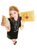 Woman with gift box and polish money banknote. Royalty Free Stock Photography