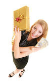 Woman with gift box and polish money banknote. Royalty Free Stock Photo