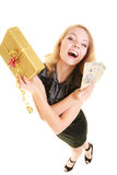 Woman with gift box and polish money banknote. Stock Images