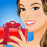 Woman with gift box. Portrait a smiling woman with gift box in her hands. Vector illustration Royalty Free Stock Photos