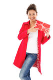 Woman with gift box Royalty Free Stock Photos