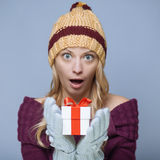 Woman with gift box Stock Images