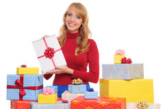 Woman and gift boxes Royalty Free Stock Image