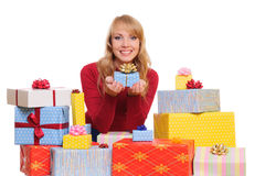 Woman and gift boxes Royalty Free Stock Images