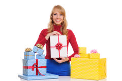 Woman and gift boxes Stock Photography