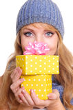 Woman with Gift Boxes Royalty Free Stock Image