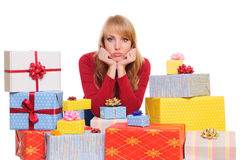 Woman and gift boxes Stock Images
