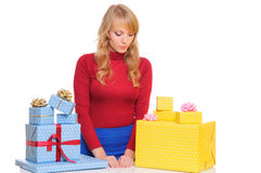 Woman with Gift Boxes Stock Photography