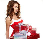 woman with a gift boxes Stock Photo