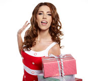 Woman with a gift boxes Royalty Free Stock Images