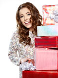 Woman with a gift boxes Stock Photography