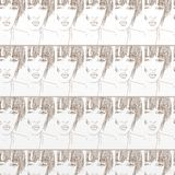 Woman for gift card, or background patter, fabric, repeated motif Stock Photo