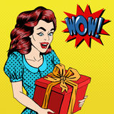 Woman with Gift. Excited Woman with Present. Pop Art Banner Royalty Free Stock Photography
