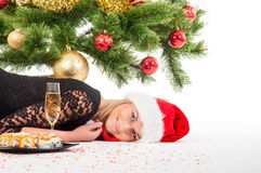 Woman with gift, glass of wine and sushi Royalty Free Stock Photography