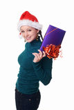 Woman with a gift in her hands Royalty Free Stock Photo
