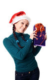 Woman with a gift in her hands Stock Image