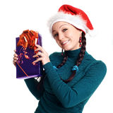 Woman with a gift in her hands Stock Photography