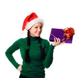 woman with a gift in her hands Royalty Free Stock Photos