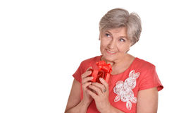 Woman with a gift Royalty Free Stock Photos