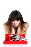 Woman gift in red box Stock Images
