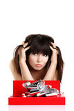 Woman gift in red box Royalty Free Stock Photography