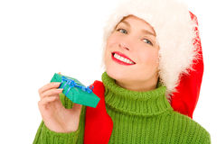 Woman with gift and Santa Hat Royalty Free Stock Photos