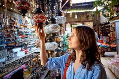 Woman in the gift shop Stock Photo