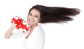 Woman with gift on Valentine's Day Royalty Free Stock Image