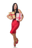 The woman with giftboxes isolated on white Stock Image