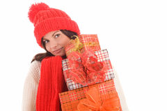 Woman with gifts Stock Image