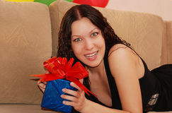 Woman with gifts Stock Photography