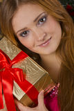 Woman  with  gifts Royalty Free Stock Photo