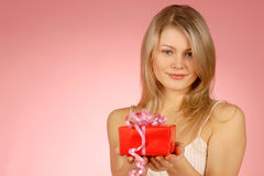 Woman & gifts. The girl with New Year's  gifts Stock Images