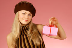 Woman & gifts. The girl with New Year's  gifts Stock Photos