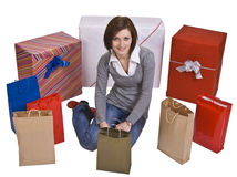 Woman and gifts Stock Photography
