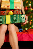 Woman with gifts Royalty Free Stock Photography