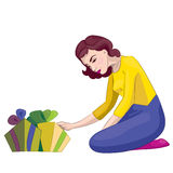 Woman with gifts stock illustration
