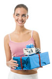 Woman with gifts, isolated Stock Images