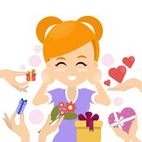 Woman with gifts. vector illustration