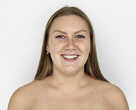 Woman Ginger Hair Bare Chest Smiling Portrait. Caucasian Woman Ginger Hair Bare Chest Smiling Portrait Royalty Free Stock Images