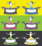 Woman girl in ball dress with ribbon banner Royalty Free Stock Photos