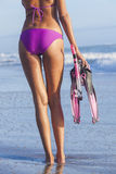 Woman Girl Beach in Bikini Snorkel Mask Flippers Royalty Free Stock Image