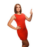 Woman girl brunette shows positive sign thumbs yes Royalty Free Stock Photo