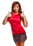 Woman girl brunette shows positive sign thumbs yes Stock Photography