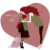 Woman with girl - card for the Mothers day Royalty Free Stock Photography
