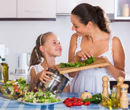 Woman and  girl cooking vegetables. Portrait of smiling women and little girl cooking vegetables Stock Images
