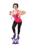 Woman girl doing fitness stepper. Stock Photos