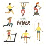 Woman girl doing sport exercises . Sport power hand drawn text . Healthy lifestyle . Freehand drawing vector vector illustration